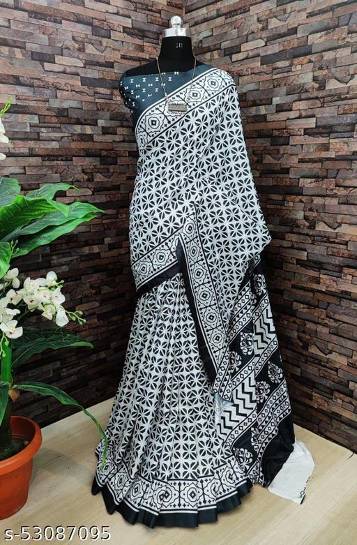 FITCASK® Women's Banarasi Silk Saree With Blouse Piece :- White