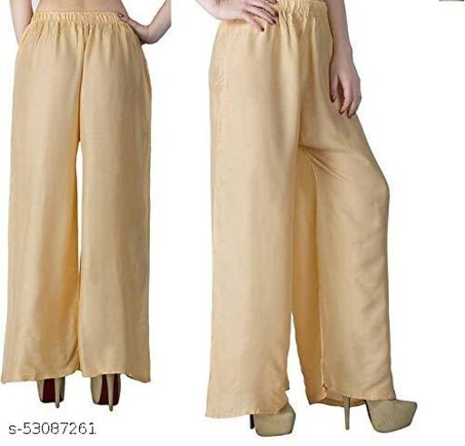 ADITRADERS Women's Cotton Palazzo in Skin Color