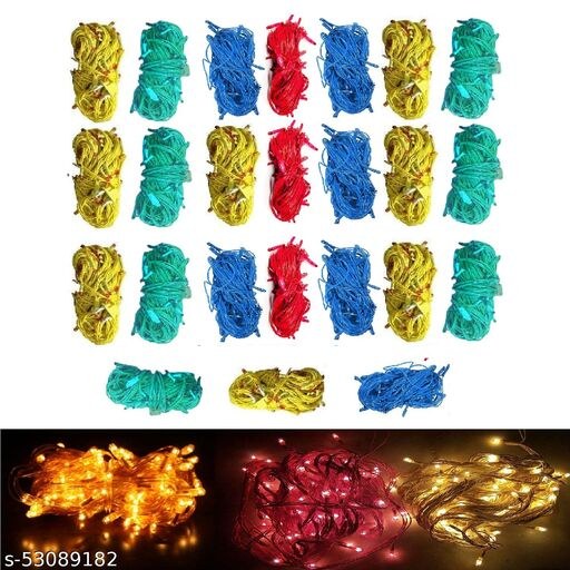 10 Meter Rice Light with LED Waterproof Bulb for Home, Indoor & Outdoor Decorations (24Pc) Multicolor