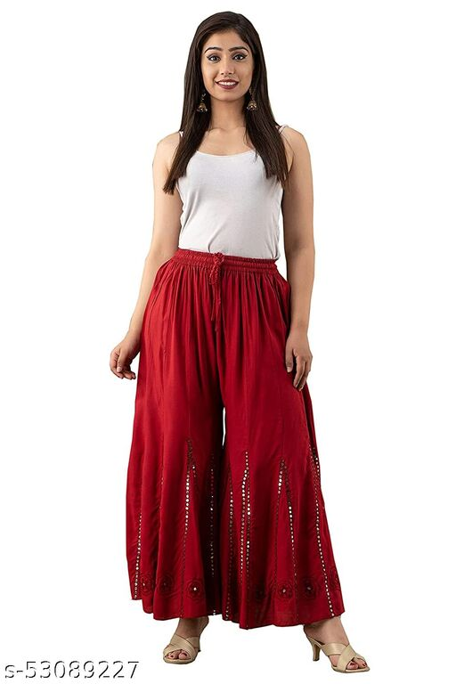 Women's Rayon fab ric Flred plazzo wirh embroidery and mirror work
