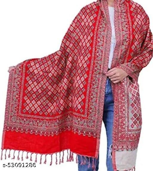 HBS Fashion Wool Woven Red Stole