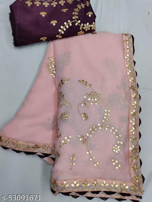 Trendly Fancy Gota Work And Sifon Silk Saree With Blouse