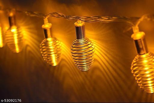 Brightvine Golden Metal Spring Ball String Light 16 LED Circular Metal Golden 13 Ft Rise Light for Diwali Decoration Valentine Day Decoration Romantic Mood Light for Diwali