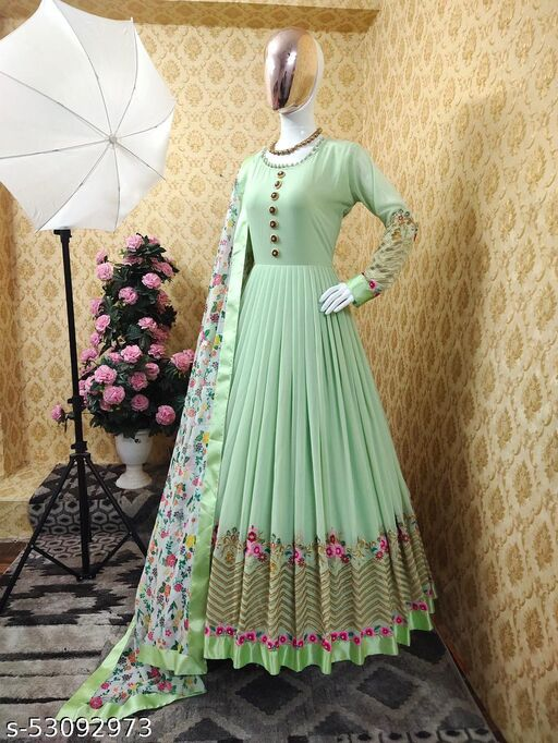 Beautiful Designer Gown on premium Fox georgette with embrodairy sequence workwith full sleve