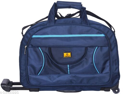 Q Fashion  50 L Strolley Duffel Bag - TRB 217 Solid Medium Trolley Wheel Bag, Detachable/Adjustable shoulder strap with Rest Pad, and two short handles on Top secured with a Velcro closure, Telescopic Handle & in-line wheels. - Blue, Neon - Regular Capacity