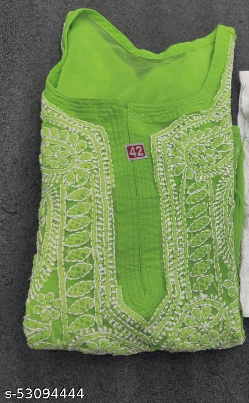 Lucknowi Libas Fashion Georgette Gaala Booti Chikankari Kurti only