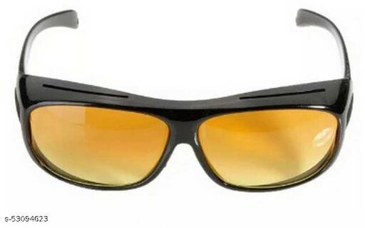 Night Vision, Riding Glasses, UV Protection Wrap-around Sunglasses (Free Size)(For Men & Women, Yellow, Black)