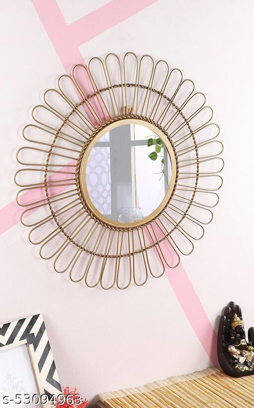 Iron intersecting Circles Glass Wall Mirror for Living Room, Bed Room, Hall, Office and Restaurant (Gold)