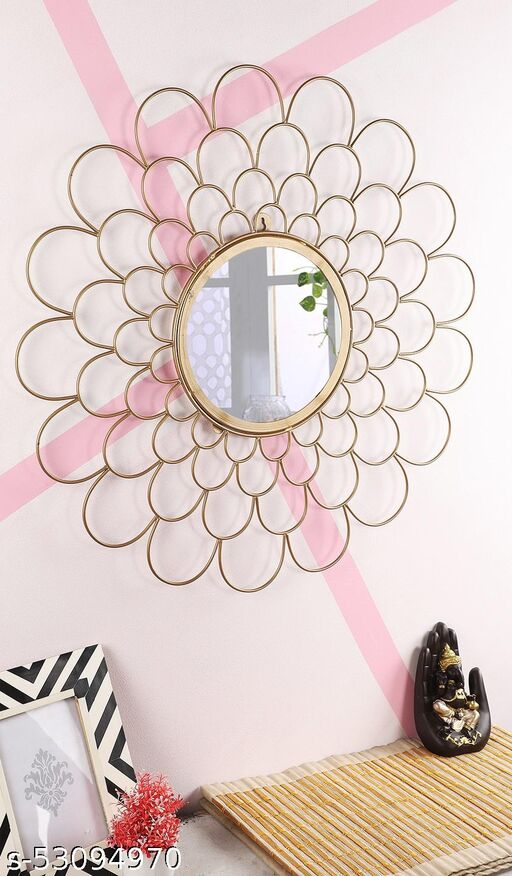 Blooming Mirror Decorative Home Décor for Living Room Office restuarant (Golden)