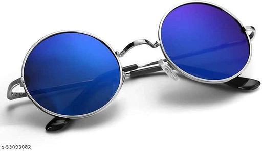 Blue Round Metal Frame Sunglasses For Men & Women, Pack of 1