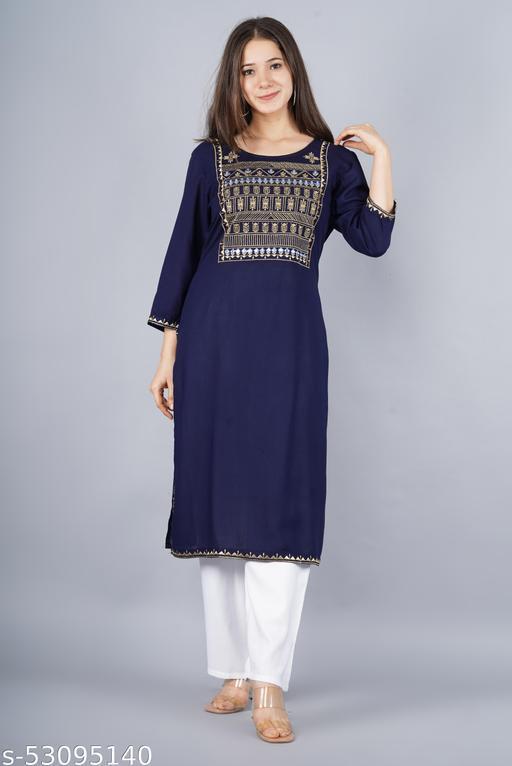 Blue Emdory kurti with pent