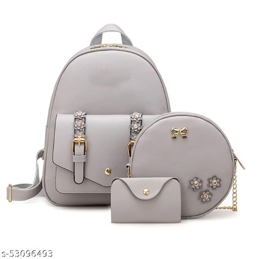 Fashion Girls 3-PCS Fashion Cute Mini Leather Backpack sling & pouch set for Women