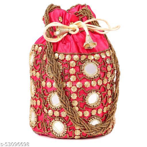 Women Ethnic Embellished Handmade Mirror Potli Bag( Pack of 1,Pink)