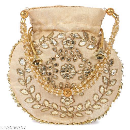 Women's Ethnic Designer Embroidered Silk Potli Bag (Cream Color, Pack of 1)