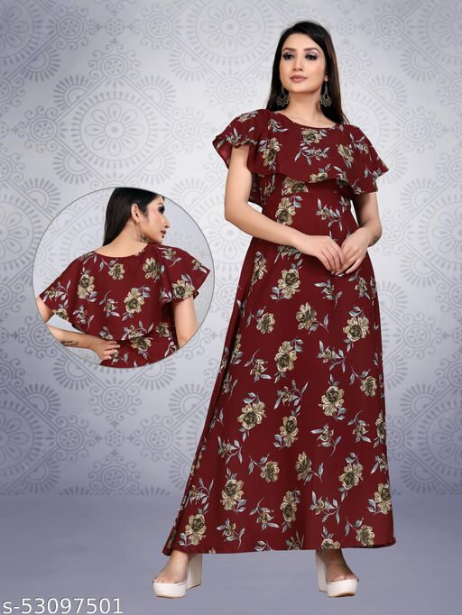 Women Gorgeous Stitched Fit And Flare Gown