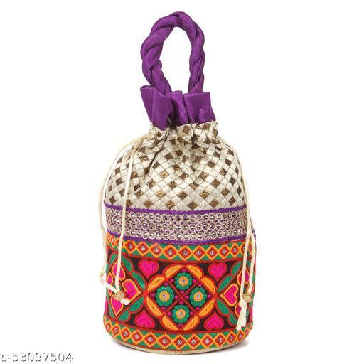Trendy Floral Potli Bags, Women Potli Bags for Return Gift, Ethnic Potli Pouch, Potlis for Ladies, Shagun Bags (Purple, Pack of 1)
