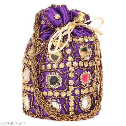 Women Ethnic Embellished Handmade Mirror Potli Bag( Pack of 1,Blue)