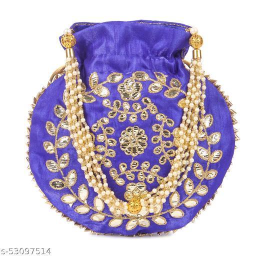 Women's Ethnic Designer Embroidered Silk Potli Bag (Blue Color, Pack of 1)