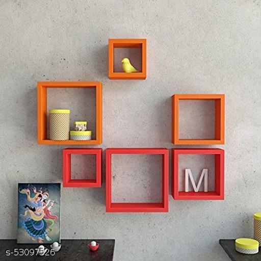 Square Shape Wooden Floating Wall Shelf