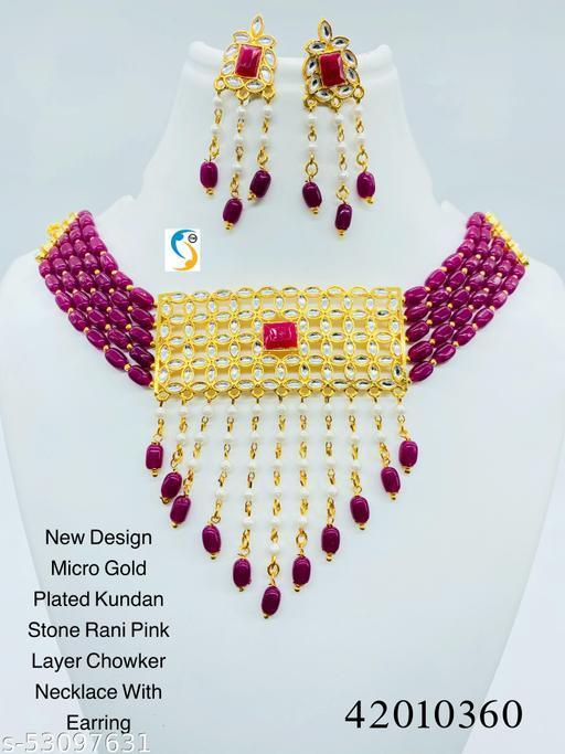 New design premium quality micro golf plated kundan stone rani pink colour pearl stone designer laye