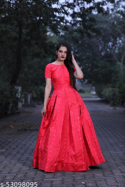 Beautifull Gajari Pink colored floor touch gown