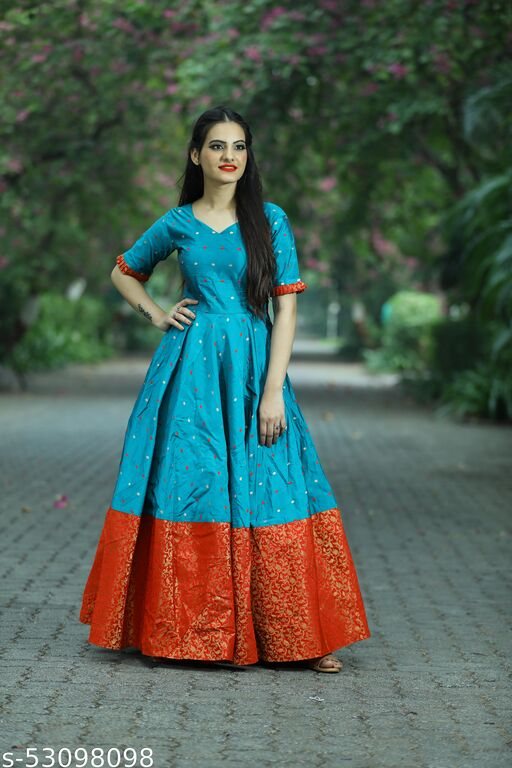 Energetic Teal Green Colored Partywear Tapetta Jacquard Gown