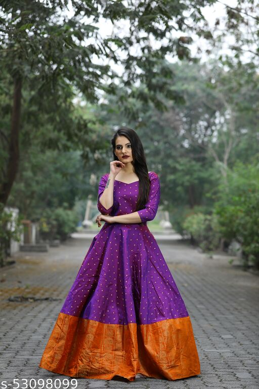 Exceptional Violet Colored Partywear Tapetta Gown