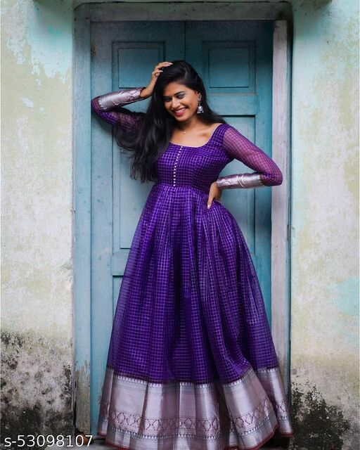 Exceptional Violet Colored Partywear Organza Jacquard Gown