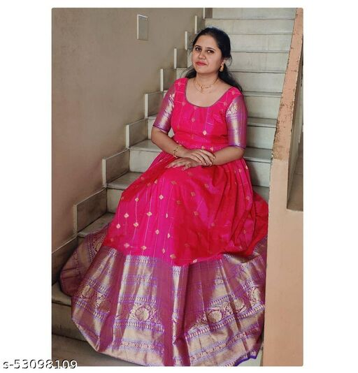 Demanding Rani Pink Colored Party wear Jacquard Silk Long Gown