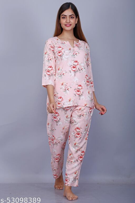 Cotton Printed Women's Night Suit Top with Bottom