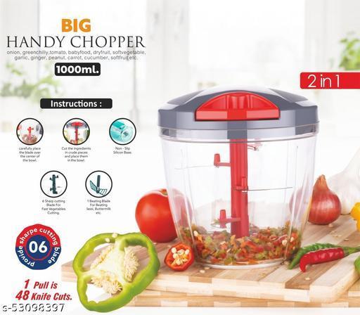 Handy vegetable & fruit chopper pro model 1000ML unbrekable jumbo Vegetable chopper, manual food chopper, Handy Chopper, Vegetable Cutter Vegetable &Fruit Chopper (1chopper 1000 ML) 2in 1