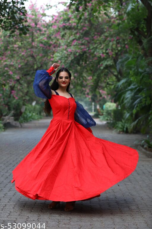 Hot Selling Beautiful Red colored floor touch partywear Gown