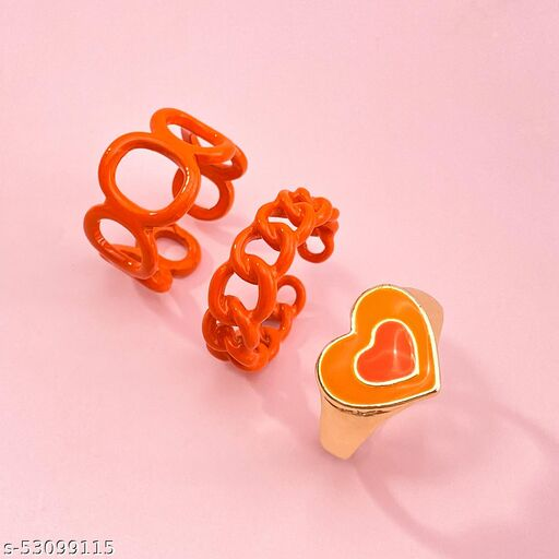 Destiny Jewels Women's Fashion Metal Acrylic Orange Love Ring Set Combo of 3