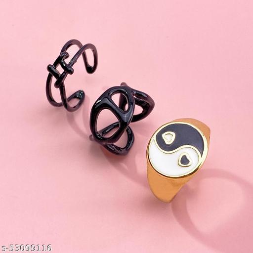 Destiny Jewels Women's Fashion Metal Acrylic Black Love Tai Chi Ring Set Combo of 3