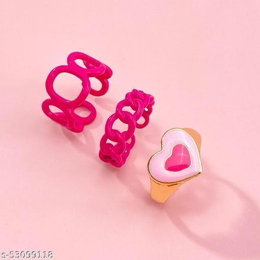 Destiny Jewels Women's Fashion Metal Acrylic Pink Love Ring Set Combo of 3