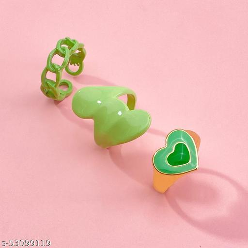 Destiny Jewels Women's Fashion Metal Acrylic Green Love Ring Set Combo of 3