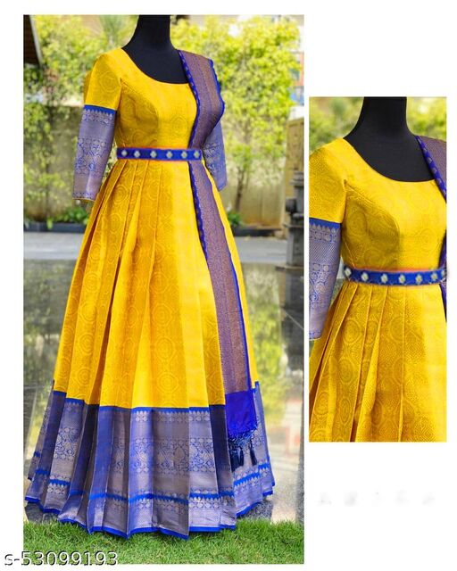 Attractive Light yellow colored Jacquard Gown with Guppata