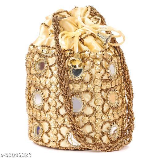 Women Ethnic Embellished Handmade Mirror Potli Bag( Pack of 1,Cream)