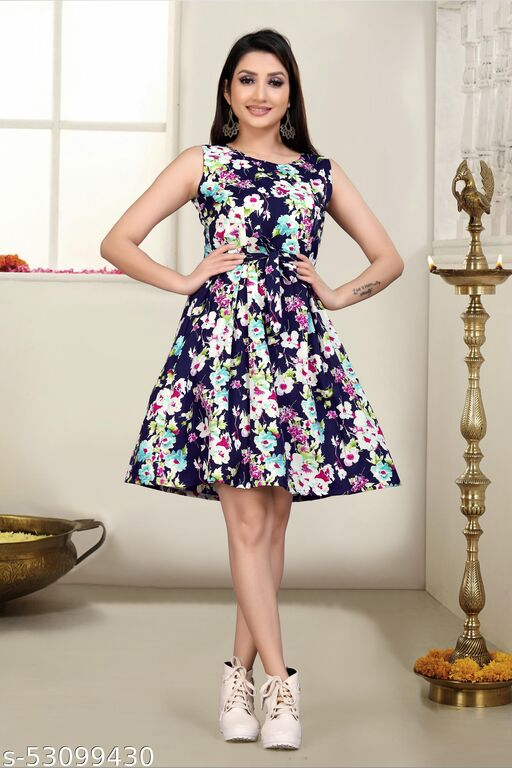 Women Fit And Flare Onepiece Frock Multicolour Dress