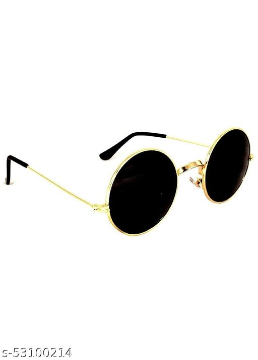 Golden Metal Frame With Black Round Sunglasses for Men & Women Use, Pack of 1