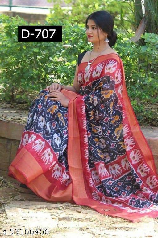 Bhagvati Women's Cotton Linen Ikat Designer Saree (Black)