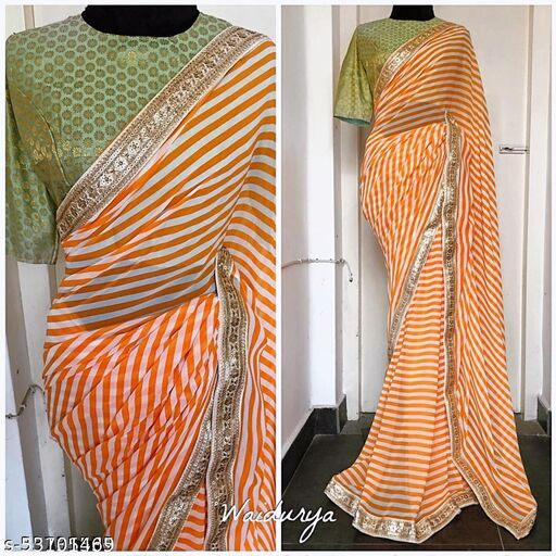 A Striped Liaing Soft Silk And Four Side Lace Work Saree