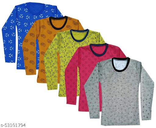 IndiStar Girls Fleece Warm Printed T-Shirts for Winter Wear(Pack of 5)