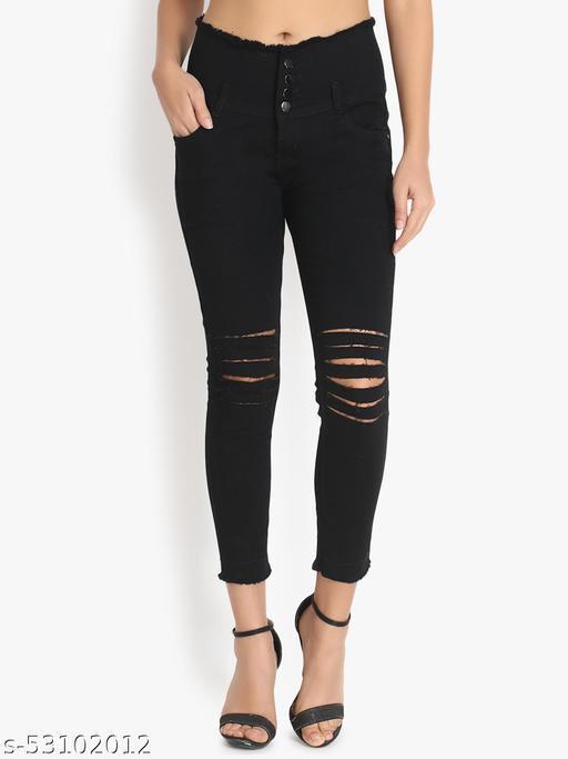Ladies High Waist Knee Cut Denim Jeans