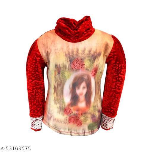 Truffles Girls Red Full Sleeve Printed Velvet Winter Wear Top