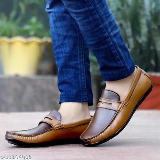 BeNikk  Men's Beige Synthetic Slip on Casual Loafers