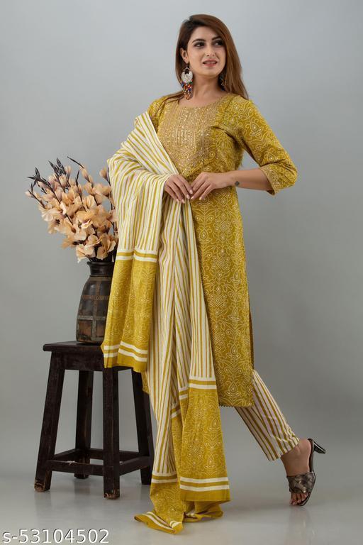 Women Cotton Printed Kurta And Pant With Dupatta