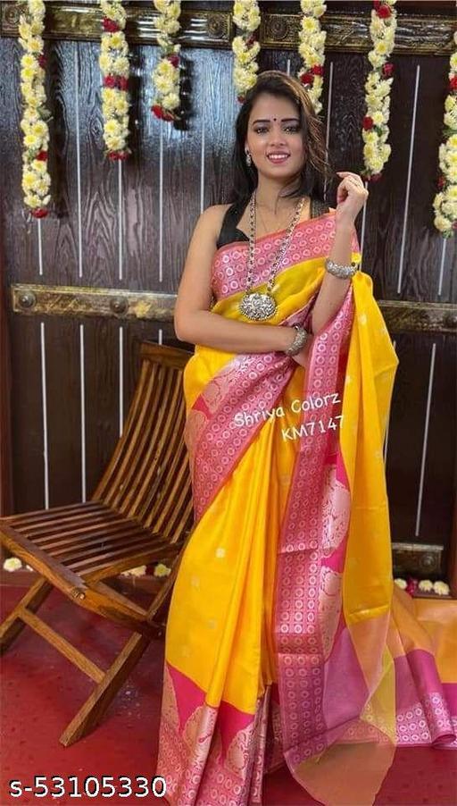 FITCASK® Women's Banarasi Silk Saree With Blouse Piece :- Yellow