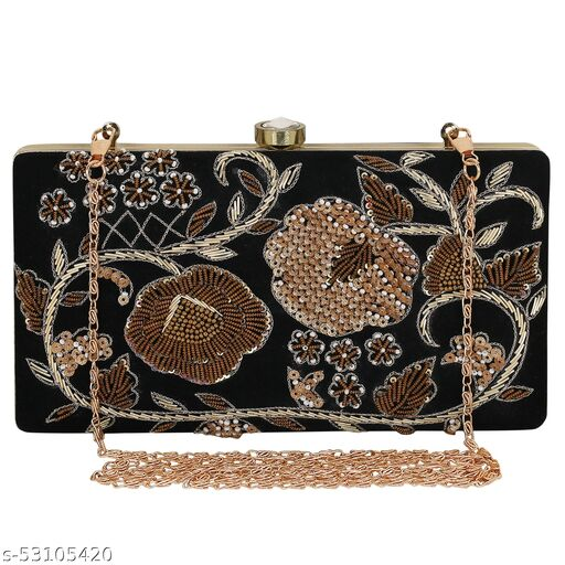 Fancy Trendy Women Black Handcrafted Embroidered Clutch with hread Work
