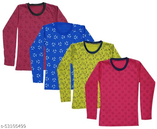 IndiWeaves Girls Fleece Warm Printed T-Shirts for Winter Wear(Pack of 4)